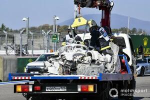 ルカ・ギオット、大惨事を免れる……クラッシュしたマシンの消火開始が遅れた理由は?|FIA F2ソチ戦