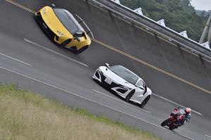【動画】マシンの限界に挑む!「NSX」「CBR1000RR-R」「ウラカン・ペルフォルマンテ」真剣勝負の勝者はドレだ!