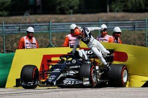 角田裕毅、クラッシュでギヤボックスにダメージ「ガスリーに追いつこうとしていた」F1第11戦金曜