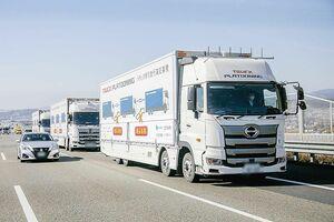 政府、トラック隊列走行を新東名で実証 割り込み安全技術に一定のめど