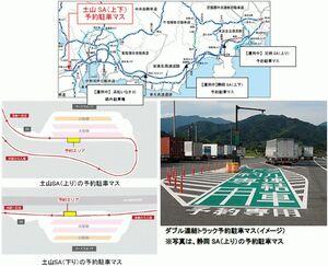 NEXCO中日本、ダブル連結トラック 「ETC2.0」活用した駐車場予約の実証実験