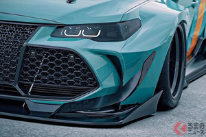 激速なトヨタ「アバロン」お披露目!? ド迫力ウイング&車高めちゃ低い仕様のカスタマイズイメージがかっこいい!