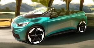 VWが電気自動車ID.3のコンバーチブルモデルのイラストを公開。ルーフ素材はファブリック?