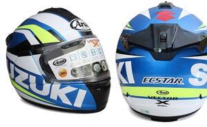 【用品】100周年記念カラーの『GSX-R1000R/GSX-R125』に乗ってる人は特に注目! MotoGP『チーム・スズキ・エクスター』のライダーなりきりヘルメットです 【寝ても覚めてもスズキのバイク!/GPカラー ヘルメット 編】
